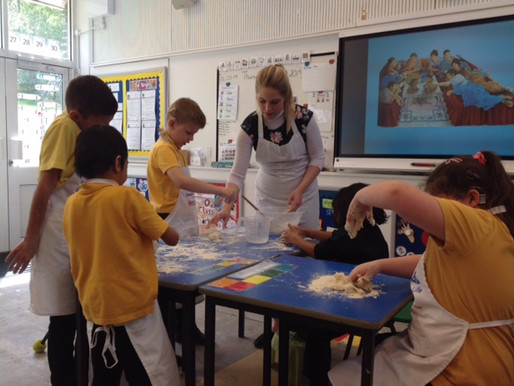 Year 4 used their knowledge about weight and capacity to bake some Roman bread. We used a real Roman