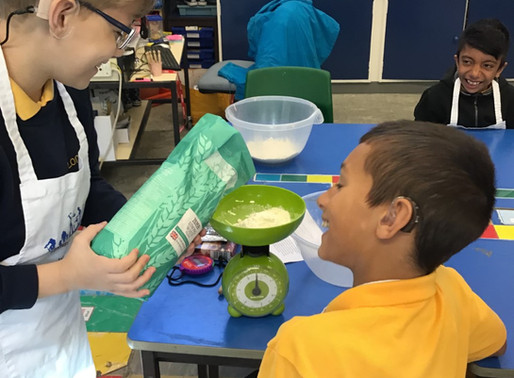 Year 5 learnt about reading and writing instructions by making bread for the Harvest Festival.