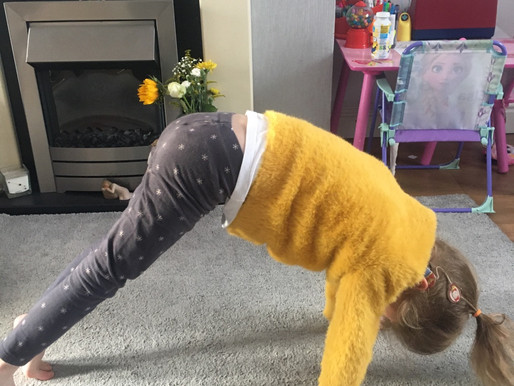 A pupil in Dolphin class has been practicing Yoga for her PE sessions.