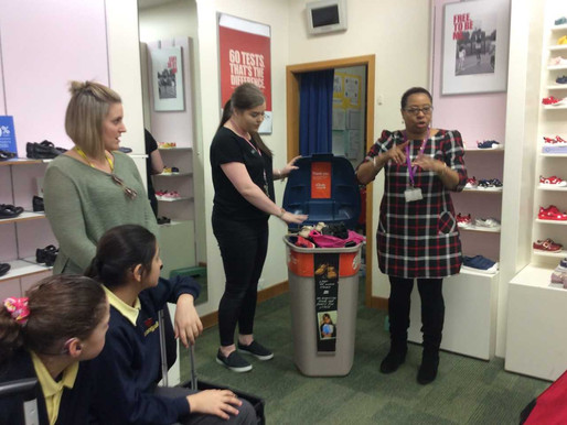 School Council reps walked to Clark's shoe store in Northfield to deliver our unwanted shoes.