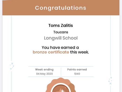Mathletics Bronze certificates.