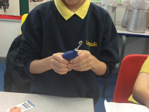 This pupil from Sunflower Class (Y5) is learning how to take care of his hearing aids.