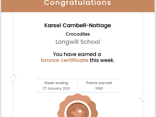 Well done to this pupil for achieving Bronze and Silver certificates on Mathletics this week.