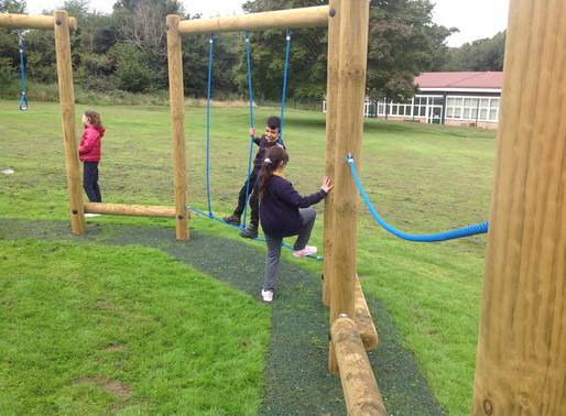 Pupils enjoying our extended 'Trim Trail! They love it!