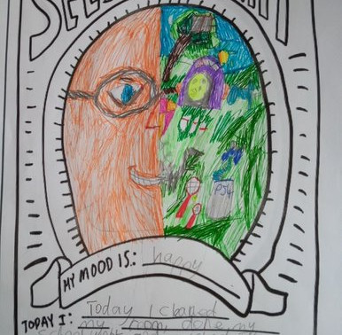 This pupil in Year 5 has drawn a lovely Self Portrait. This is very creative.