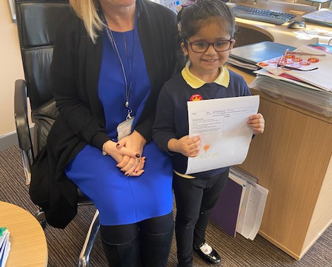This little girl visited Mrs Carter this morning to share her good work.