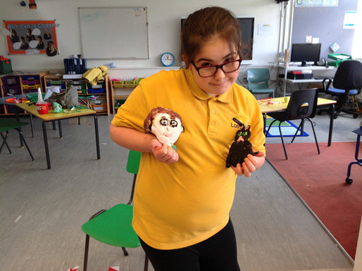 "In school bubble 4 have been creating ""What makes me happy?"" salt dough sculptures."