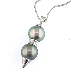 Pearl, Diamond and White Gold Pendant