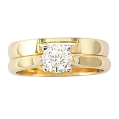 Yellow Gold and Diamond Wedding Ring Set