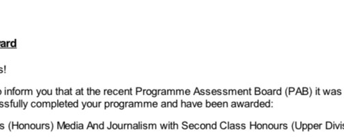 I have a degree! Second Class Honours (Upper Division), Northumbria University 2021