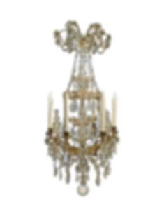 Lustre Marie Antoinette cristal et bronze doré