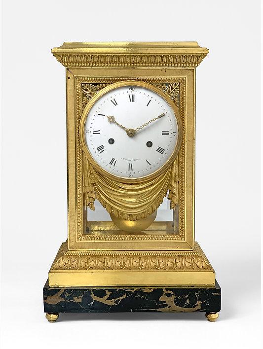 pendule cage en bronze doré d'époque Louis XVI signée Maniere, Thomire et Merlet