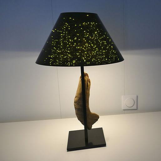 lampe de table d'exception alliant technologies et bois flotté