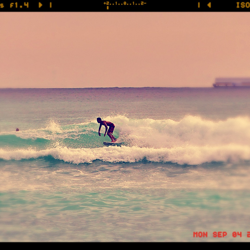 Papa qui surfe...