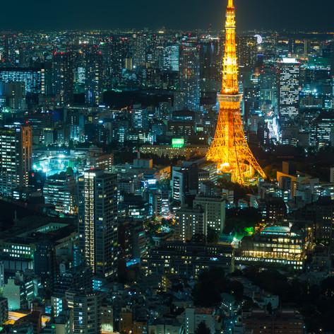 Tokyo night cityscape, vertical composit