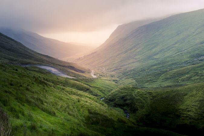 Irish valley with magnificent sunlight.j