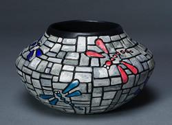 212- Dragonfly mosaic bowl