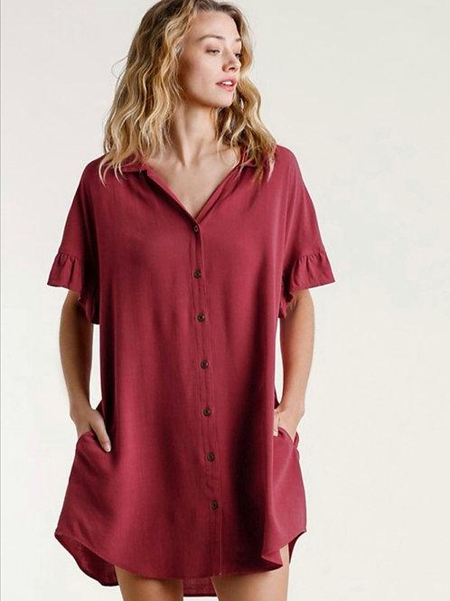 Burgundy Linen Dress