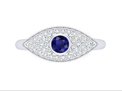 Evil eye Blue Sapphire and Diamonds Ring