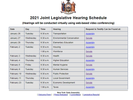 2021 Joint Legislative Hearing Schedule
