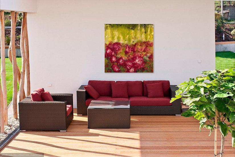 "Rose Garden, Original Painting on Steel, 40""H x 40""W x 1.5""D"