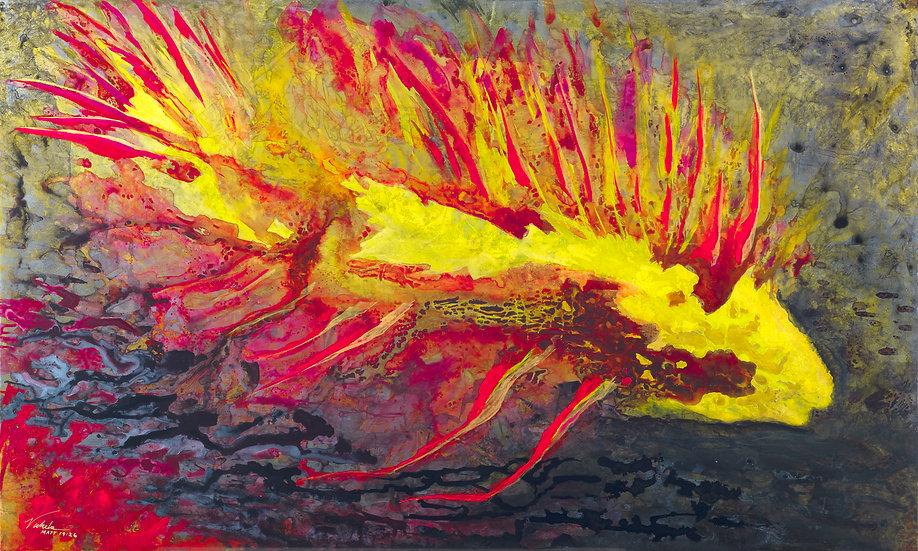 "Fish, Original Painting on Steel, 24""H x 40""W x 1.5""D"