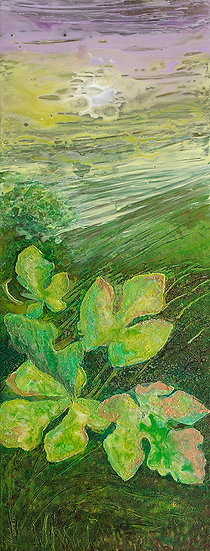 "Garden, Original Painting on Steel, 42""H x 16""W x 1.5""D"