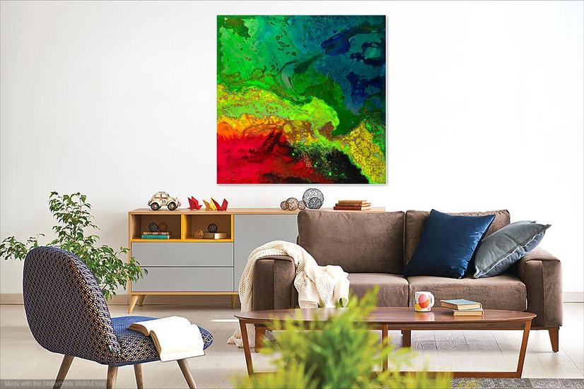 "Celestial Storm, Original Painting on Steel, 40""H  x 40""W x 1.5""D"