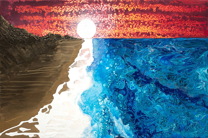 """Sand and Sea, Original Painting on Steel, 16""""H x 24""""W x 1""""D"""