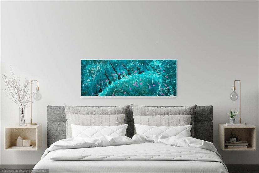 "Sea Life, Original Painting on Steel, 16""H x 42""W x 1.5""D"