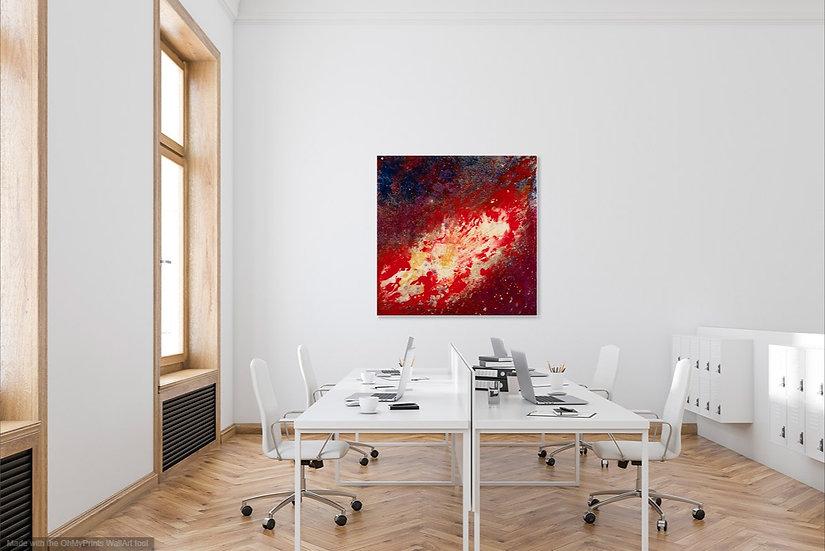 """Super Nova, Original Painting on Steel, 40""""H x 40""""W x 1.5""""D"""