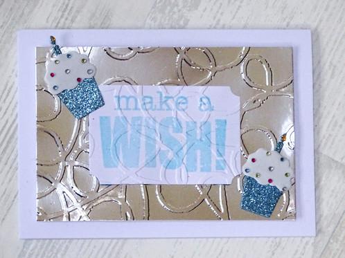 Make A Wish Cupcake Birthday Card Blue