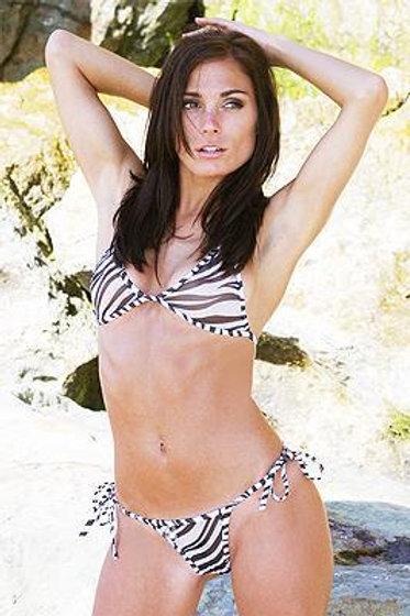 Micro Mesh Tie Thong Bikini (Zebra Print)