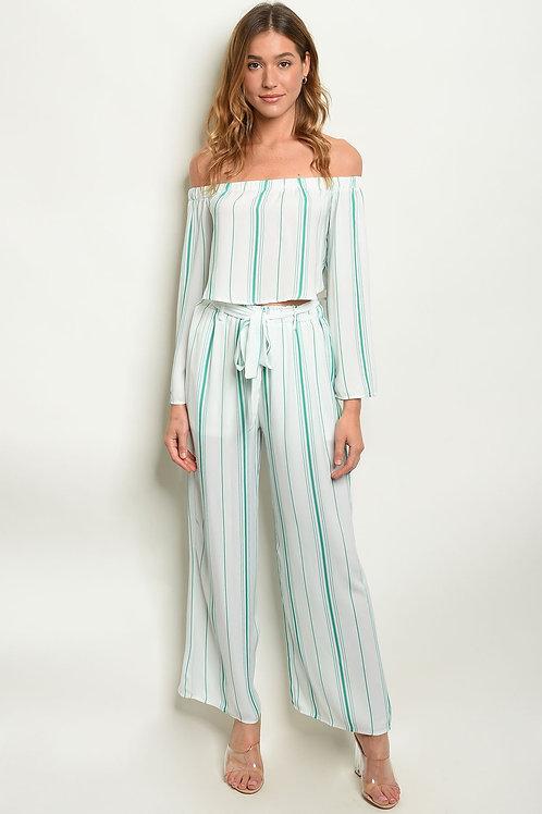 Green Stripes Top & Pants Set