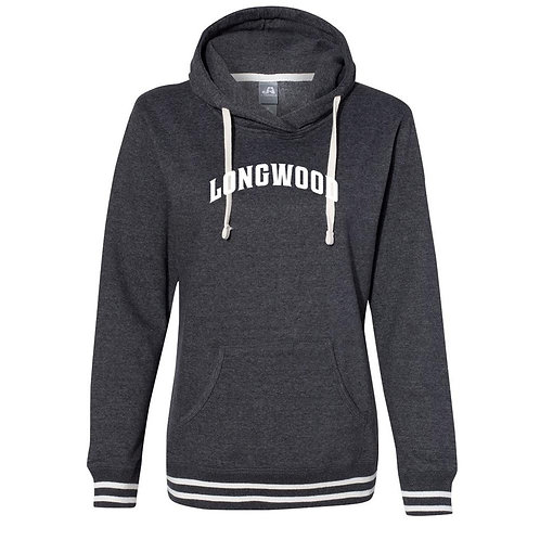 Official NCAA Longwood Lancers  Women's Hooded Pullover Sweatshirt Striped Edges