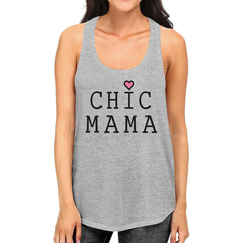 Chic Mama Womens Gray Cotton Tanks Great Summer Shirt Mothers Day