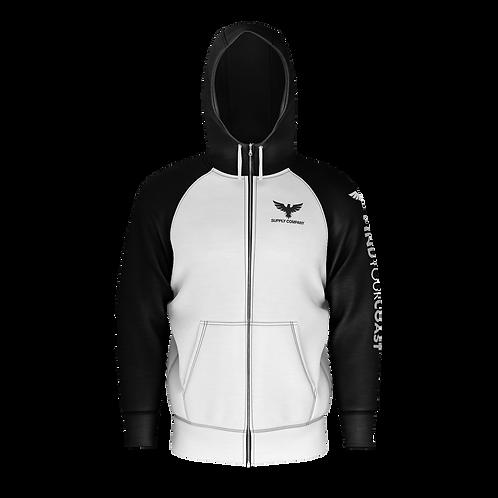 Men's Supply Company Sustainable Long Sleeve Raglan Zip Up Sweatshirt Hoodie