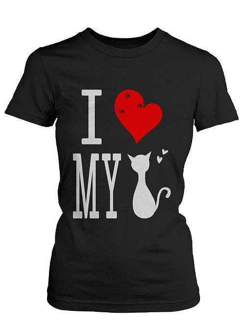 Funny Graphic Statement Womens Black T-Shirt - I Love My Cat