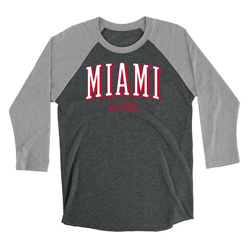 Official NCAA Miami RedHawks - RYLMU07 Mens / Womens Boyfriend Triblend Raglan