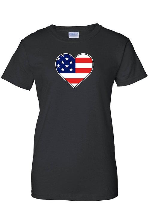 USA Flag T Shirt Love & Pride Women's Juniors Tee