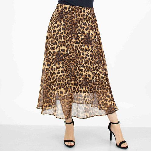 Wild Animal Print Flare Midi Skirt