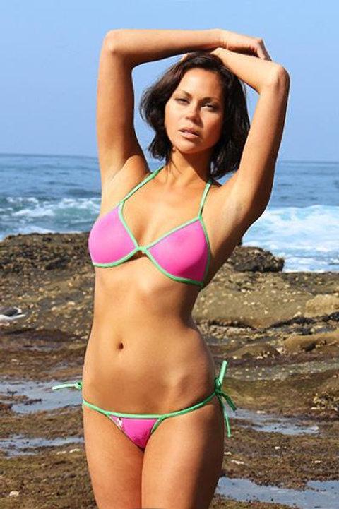 See Through Mesh Tie Thong Bikini (Water Melon)