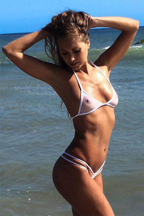 Sheer Double Strap G-String Bikini Set (White)