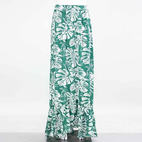Flared Bottom Leaf Maxi Skirt