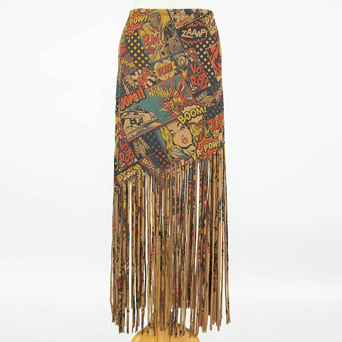 """Pow"" Comic Print Skirt With Fringe"