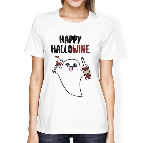 Happy Hallowine Ghost Wine Womens White Shirt