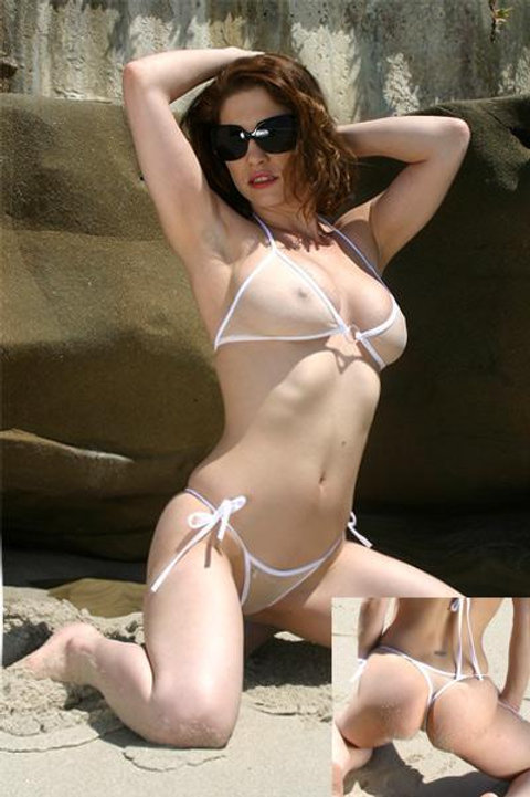 White/Sand Sheer Tie Thong Bikini