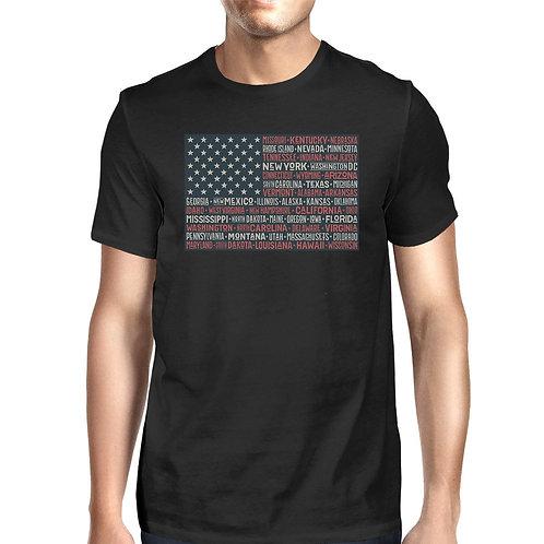 50 States US Flag American Flag Shirt Mens Black Cotton Graphic Tee