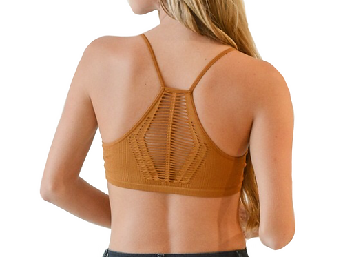 Rust Sexy Seamless Geometric Back Bralette