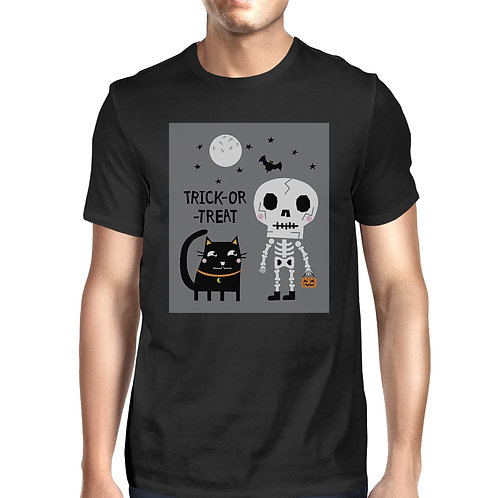 Trick-Or-Treat Skeleton Black Cat Mens Black Shirt